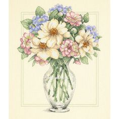 "Dimensions Flowers In Tall Vase Counted Cross Stitch Kit-12""X14"""