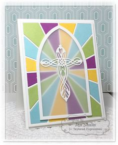 Stained Glass Window by Jen Shults - At The Cross 1 by Taylored Expressions, Ray of Sunshine Cutting Plate, Label Stacklets 5 Dies