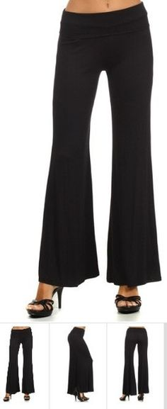 Solid Black Palazzo Pants Wide Leg & Self Banded Waist Perfect for Patterned Tops and Tunics! Palazzo Dress Pants, Black Palazzo Pants, Pretty Outfits, Cool Outfits, Fashion Outfits, Pretty Clothes, Work Clothes, Fall Fashion, Fashion Ideas