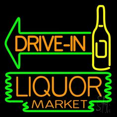 Drive In Liquor Market Neon Sign 24 Tall x 24 Wide x 3 Deep, is 100% Handcrafted with Real Glass Tube Neon Sign. !!! Made in USA !!!  Colors on the sign are Green, Yellow and Orange. Drive In Liquor Market Neon Sign is high impact, eye catching, real glass tube neon sign. This characteristic glow can attract customers like nothing else, virtually burning your identity into the minds of potential and future customers.