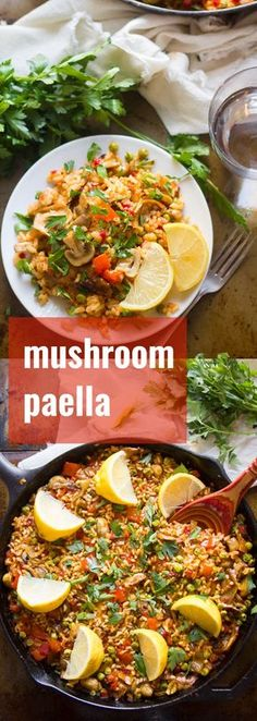 This vegan paella is made with tender saffron-infused rice, veggies, and mix of savory mushrooms. Serve with lemon wedges for an elegant, Spanish-inspired vegan dinner. Vegan Dinner Recipes, Veggie Recipes, Whole Food Recipes, Vegetarian Recipes, Cooking Recipes, Healthy Recipes, Rice Recipes, Cooking Ideas, Healthy Meals