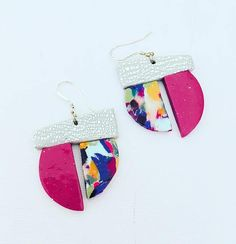 Colourful Geometric Earrings. Unique. Handmade. Asymmetrical. Abstract. Quirky. Funky Earrings. 80s. Contemporary. Art Earrings. Geo Shapes Earrings. Polymer Clay Earrings. Purple Earrings.