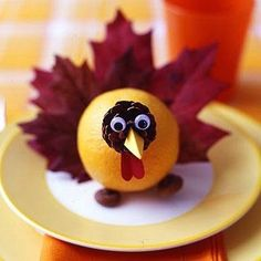 Edible Thanksgiving Craft? Well, sort of...  3 Fun Turkey Crafts from Organic items in Nature. #turkeycrafts