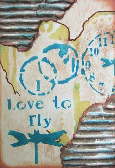 Stenciled art journal cover with TCW stencils Nancy Lefko