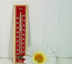 Vintage Wooden Taylor Thermometer - Working - Hand Painted Red & Cream Enamel