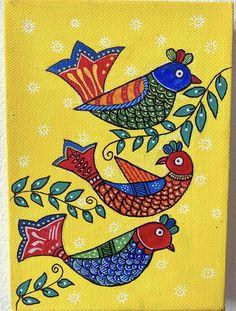 Madhubani Paintings Peacock, Madhubani Art, Pichwai Paintings, Indian Art Paintings, Worli Painting, Fabric Painting, Indian Traditional Paintings, Rajasthani Art, Mini Canvas Art