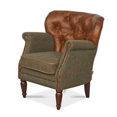 buy vintage leather armchair tweed studded chesterfield wing chair