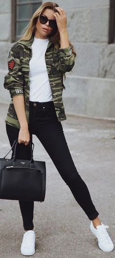 #fall #trending #outfits | Camo + Black and White