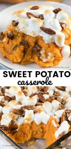 This easy Sweet Potato Casserole with marshmallows and pecans is a traditional side at our family Thanksgiving table. Sweet Potato Side Dish, Sweet Potato Pecan, Sweet Potato Recipes, Canning Sweet Potatoes, Slow Cooker Sweet Potatoes, Roasted Sweet Potatoes, Sweet Potatoes With Marshmallows, Recipes With Marshmallows, Canned Sweet Potato Casserole