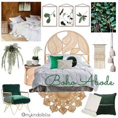 My KInd of Bliss Mood Board- Boho Bedroom/ Bohemian Decor/ Botanical Style