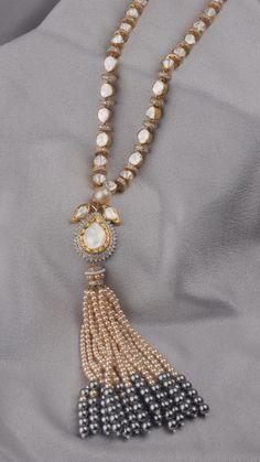 AZVA polki diamond necklace with perals Urban Jewelry, Mom Jewelry, Tassel Jewelry, India Jewelry, Modern Jewelry, Wedding Jewelry, Beaded Jewelry, Jewelery, Jewelry Stand