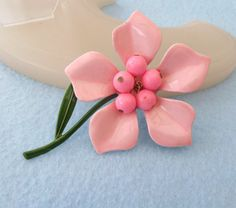 1960s Pink Flower Power Pin, Enamel Finish by AnAntiqueTreasure on Etsy