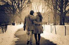 Walk in the park in winter - beautiful lovers. Misc, Stuff Wallpapers. HD Wallpaper Download for iPad and iPhone Widescreen 2160p UHD 4K HD 16:9 16:10 1080p