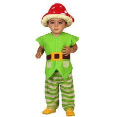 Kabouter kostuum voor peuters. Groen kabouter kostuum voor peuters met paddenstoel hoed. Geschikt voor kinderen van 12 tot 24 maanden. Carnavalskleding 2015 #carnaval