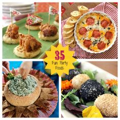 35 Fun Party Foods - pizza dip, mini caramel apples, mini fried chicken & waffles and more!