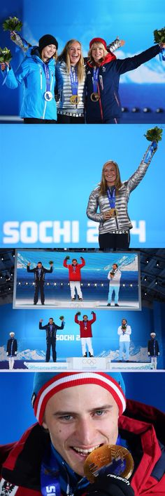 Sochi 2014 Day 3 / (L-R) Silver medalist Enni Rukajarvi of Finland, gold medalist Jamie Anderson of the United States and bronze medalist Jenny Jones of Great Britain pose on the podium during the medal ceremony for the Women's Snowboard Slopestyle Finals , Silver medalist Christof Innerhofer of Austria, gold medalist Matthias Mayer of Austria and bronze medallist Kjetil Jansrud of Norway celebrate on the podium during the medal ceremony for the Alpine Skiing Men's Downhill on day 3 of the…