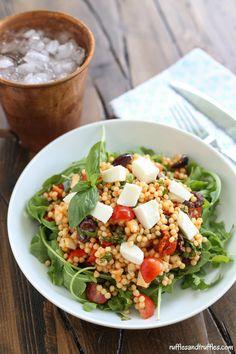 Mozzarella, Tomato, and Basil Couscous Salad with Arugula