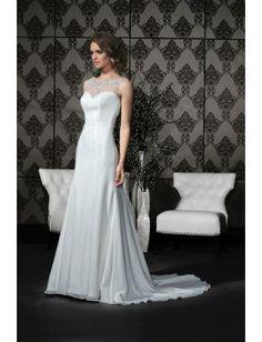 Robe de mariée 2015 en mousseline applique perles pailletés cristal