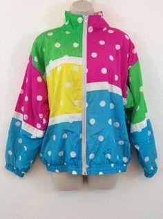 VTG 80s 90s MURELI Multi Color Neon Polka Dot Windbreaker Jacket S Small #Mureli