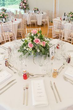 Pink roses with gypsophila -beautiful table centrepiece perfect for a summer's wedding. A Stunning Lyveden New Bield Wedding - McKenzie-Brown Photography Table Centerpieces, Wedding Centerpieces, Wedding Table, Wedding Decorations, Table Decorations, Rose Wedding, Summer Wedding, Wedding Flowers, Gypsophila