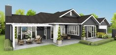 Our Karapiro Ready to Build house plan offers great flexibility for new home builders. Two Storey House Plans, Open House Plans, Cheap Houses For Sale, 4 Bedroom House Designs, House Cladding, Modern Barn House, Homestead House, New Zealand Houses, Luxury House Plans