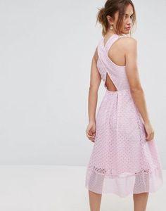 Warehouse Premium Lace Cross Back Midi Dress