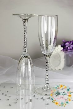 ♥ ITEM DETAILS ♥ Let your love shine on your wedding day when you toast with these beautiful champagne flutes! Such Glam Design looks terrific and it