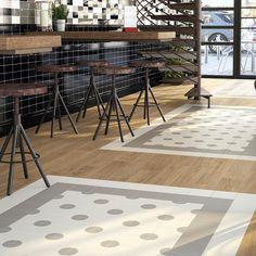 White & grey dot tile- fun!   Merola Tile Brezo Xaloc 5-7/8 in. x 5-7/8 in. Porcelain Floor and Wall Tile