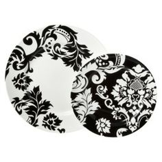 Damask 16 Piece Dinnerware Set - Black/White