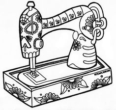 Skele Sewing Machine * Day of the Dead, dia de los muertos, Sugar Skull, Coloring pages colouring adult detailed advanced printable Kleuren voor volwassenen coloriage pour adulte anti-stress kleurplaat voor volwassenen Line Art Black and White Skull Coloring Pages, Coloring Book Pages, Printable Coloring Pages, Printable Art, Printables, Embroidery Patterns, Hand Embroidery, Sewing Machine Drawing, Coloring Pages For Grown Ups