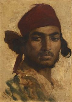 Portrait d'un gitan [Portrait of a Gypsy] by Henri Regnault (French, 1843-1871) Oil on canvas, 42 x 30 cm.