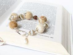 Jewelry, felted  bracelet, original design, cream and beige bracelet,  ready to ship. $26.00, via Etsy.