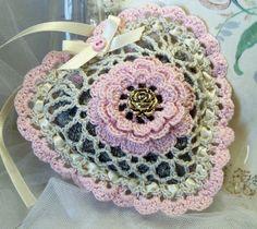 Hand Crocheted Cream & Pink Heart Ornament Sachet