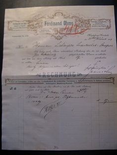 Antique Account Fredinand Ohms, Import u. Export 1897...