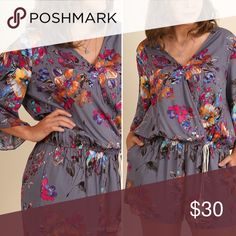 Floral Romper Super soft, lightweight. Elastic waistband and open front with one button closure. Other