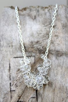 Silver Beaded Cluster Necklace