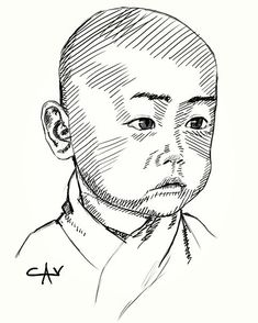 #sketch #drawing #portrait #baldhead #asian #boy #baby #buddha #littlemonk #pictoftheday #painting #art #speedpaint