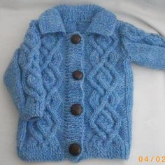 Aodhan aran jacket for baby and toddler PDF knitting pattern by PurplePup on Etsy