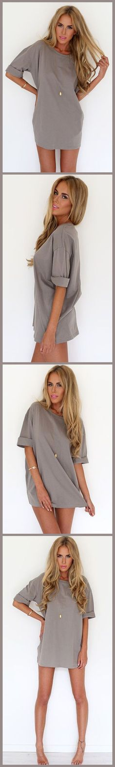Tired of skintight dress?Try this Camel Solid Slouchy Drop Shoulder Mini Dress from OASAP,camel color bend with loose fit silhouette. Bring it home right now!