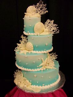 Beach cake...kind of like the staggered layers