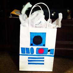 Homemade Star Wars R2D2 gift bag.