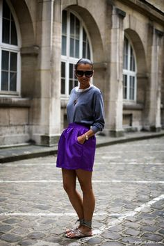 Street style, purple skirt, sandals