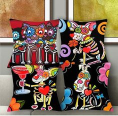 1 Pcs 43*43 Cm Cute Sugar Skull Animal Eco Linen Cushion Cover Throw Pillow Case