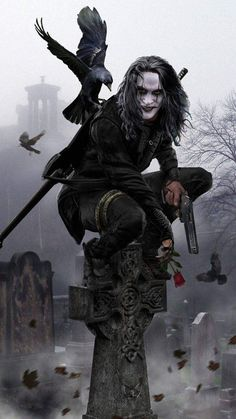 The Crow movie crow Dark Fantasy Art, Dark Art, Crow Movie, Bd Art, Crow Art, Joker Wallpapers, Iphone Wallpapers, Comic Kunst, Bruce Lee