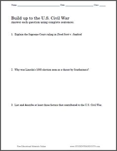 civil war printables civil wars social studies and history build up to the u s civil war essay questions to print pdf