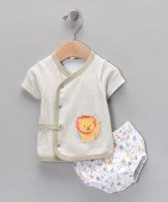 Another great find on #zulily! Rumble Tumble Taupe Lion Wrap Top & Diaper Cover - Infant by Rumble Tumble #zulilyfinds