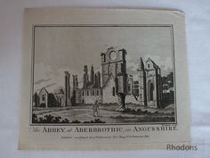 Antique Georgian Print - Scotland - The Abbey At Aberbrothic In Angusshire - Antique Copper Engraving of The Abbey at Aberbrothic in Angusshire Engraved by Eastgate Published by Alexr Hogg, No 16 Paternoster Row, London Believed to date circa Antique Prints, Vintage Prints, Retro Vintage, Antique Copper, Georgian, Scotland, London, Antiques