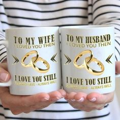 """The sweet sentiment """"Magically"""" appears on these Husband & Wife Mugs when a hot drink is poured inside! Black when empty, these mugs turn white to reveal the hidden message. Gifts For My Wife, Wine Bottle Opener, Husband Love, Just Giving, A Table, Anniversary Gifts, Coffee Cups, Messages, Mugs"""