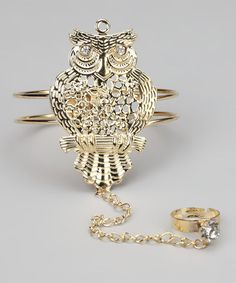 Take a look at this Gold Owl Bracelet Ring by Rated G on #zulily today!