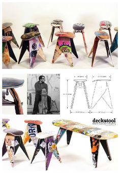 Stools made from old broken skateboards ! I want one ! ;) FromDeckstool: Broken skateboards are an unfortunate side effect …